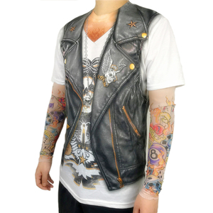 Image 3 - Halloween Party Funny Leather Vest Printed Biker T Shirts for Men Cool Rider Long Sleeve Tattoo Tee Halloween Costumes