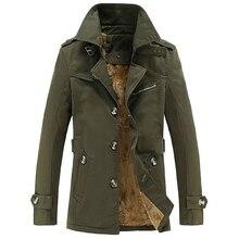 Trench Coat Men Winter Casual Thick velvet Jacket Mens Overcoat Cotton Parka Windbreaker Jackets abrigo hombre Long Trench Coat