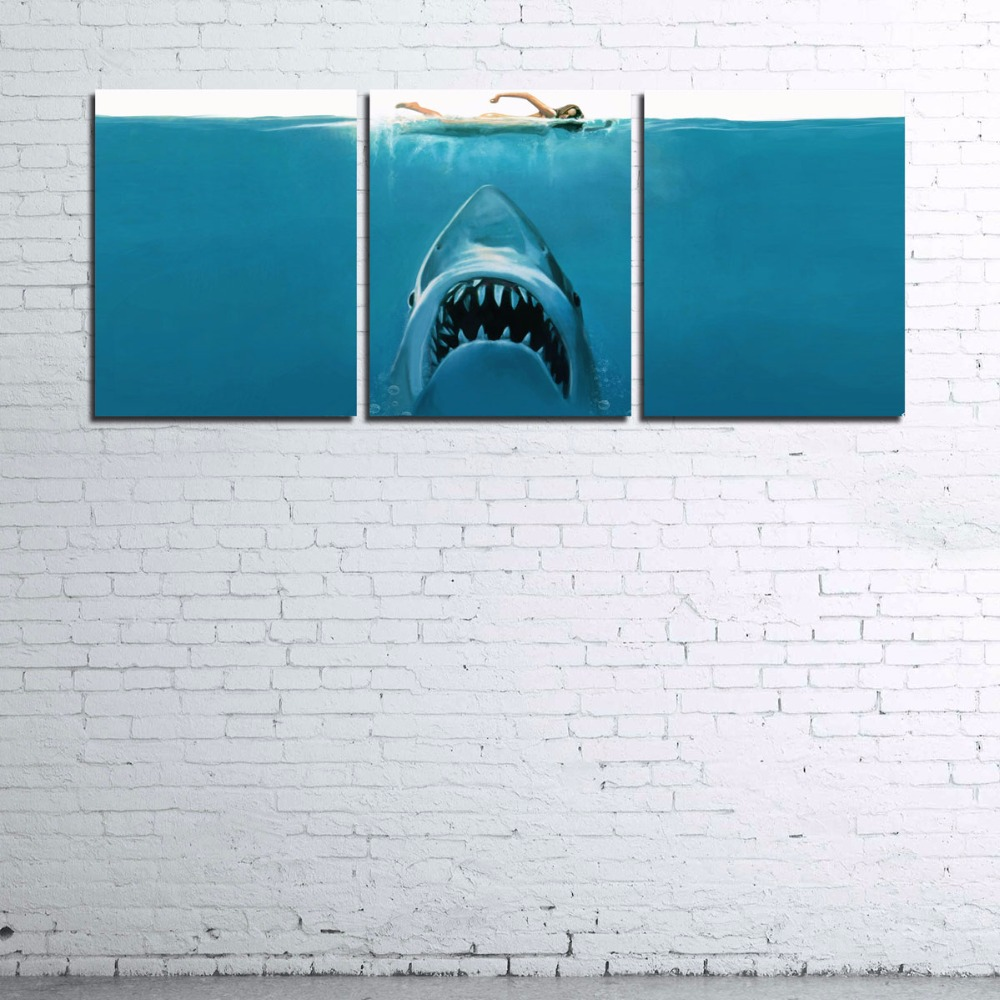 Modular Home Decor Wall Art Frame For Living Room Poster HD Printed Shark Pictures 3 Pieces