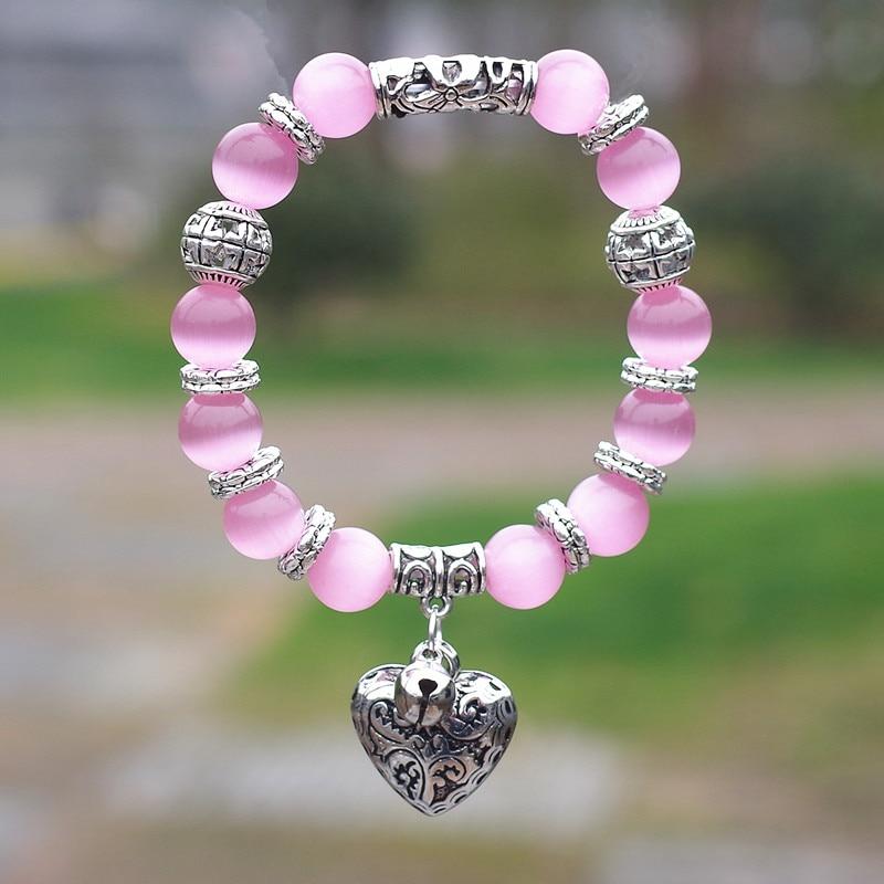 Bracelet en pierre naturelle avec œil de tigre obsidienne opale 10mm avec pendentif breloques coeur Bracelet en perles bricolage pour femmes hommes