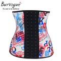 Burvogue Waist Control Corsets Leopard Print Women Latex Waist Shaperwear  Women Slimming Body Shaper Underbust  Steel Bones