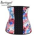 Burvogue Waist Control Corsets Leopard Print Women Latex Waist Shaperwear  Women Slimming Body Shaper Underbust  Steel Bones