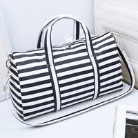 PU Leather Stripes Pattern Fitness Gym Bag Men Sport Bag Women Travel Shoulder Bag Handbag Bolsa Feminina Sac De Sport