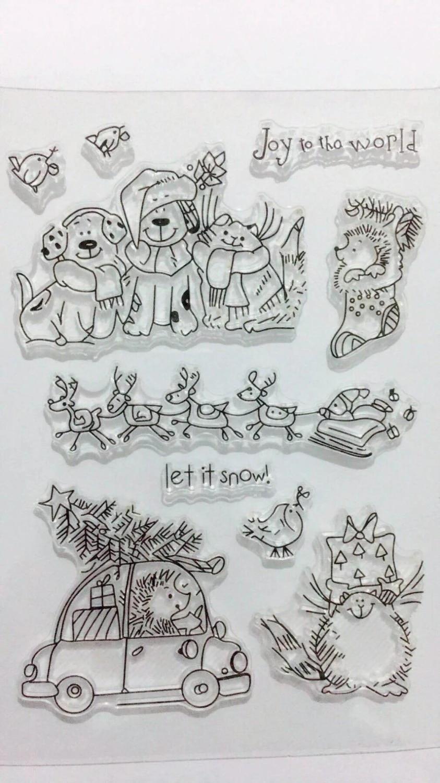 Geschenk Dengeng Merry Christmas Silikon-Stempel f/ür Scrapbooking Pr/ägung Handarbeit Karten dekoratives Papier Fotoalbum