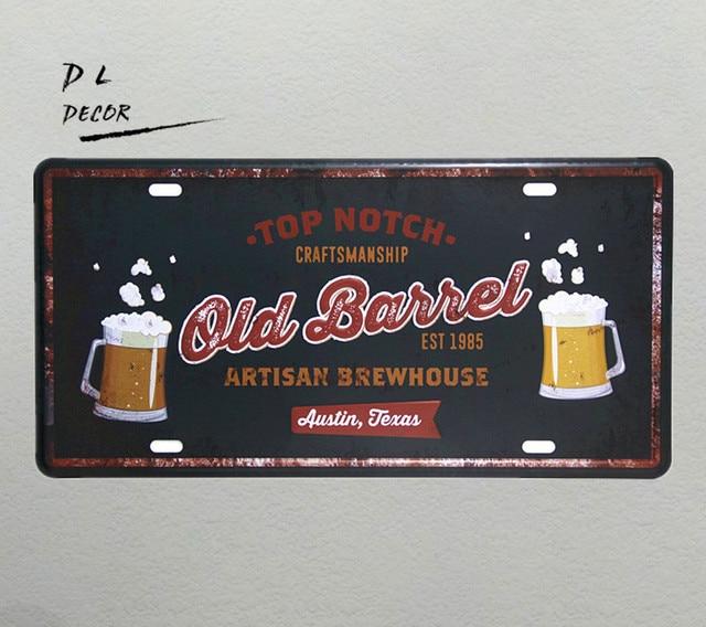 DL Old barrel TOP NOTCH Vintage License plate metal Sign shabby chic ...