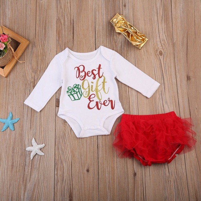 48a8287cc 3pcs Clothes Set Newborn Baby Girls Best Gift Romper+Tutu Pants+Headband  3pcs Outfit