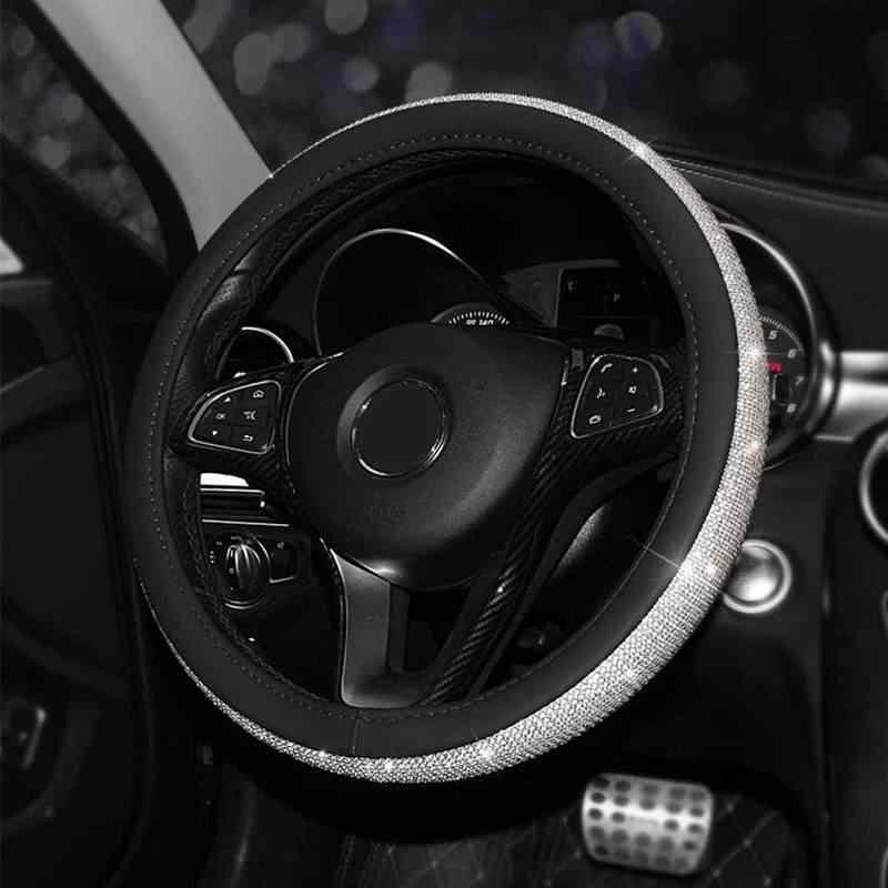 Кожаные чехлы на руль со стразами, блестящая крышка на руль, аксессуары для салона автомобиля для девушек