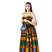 2019 Summer African dresses for women Mid calf Print Dresses Print Wax Fashion Dress For Girl Sexy African Clothing