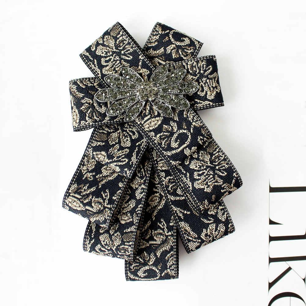 İngiliz erkekler düğün İş boyunluk gömlek papyon kadın parti el yapımı Bling alaşım Rhinestone kelebek çiçek elbise papyon