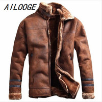 AILOOGE Russian Style Winter Warm Mens Fur Leather Jacket Casual Fashion Winter Streewear Mens Fur Leather Jackets Overcoat