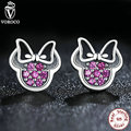 925 Sterling Silver Red Mickey Shape Sparkling Minnie Jewelry Special Store Stud Earrings Compatible with VRC Jewelry S414