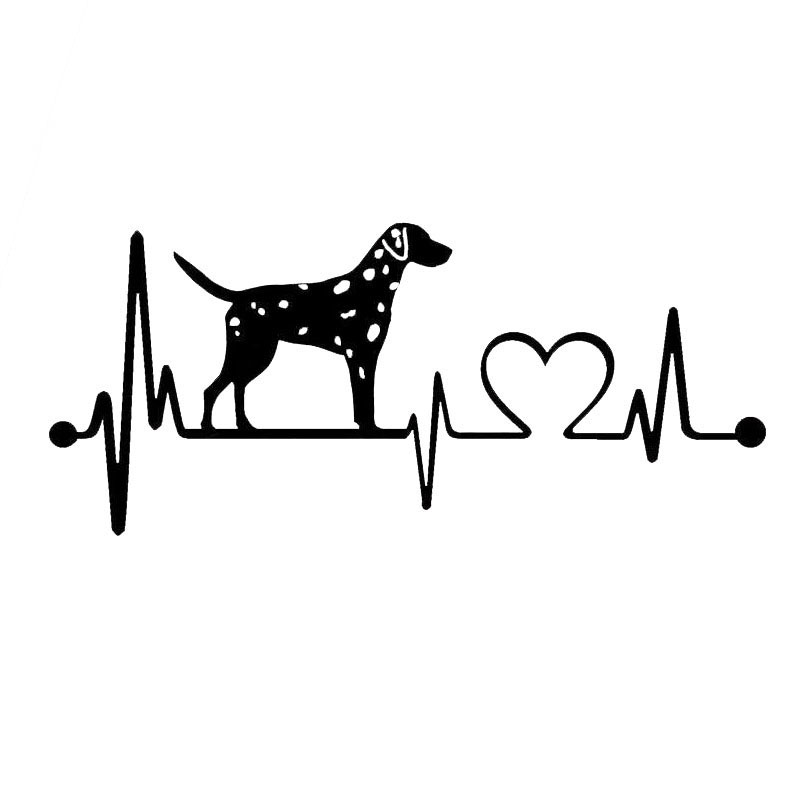 18*7.8CM Dalmatian Heartbeat Dog Car Stickers Personality Vinyl Decal Car Styling Truck Decoration Black/Silver S1-0796