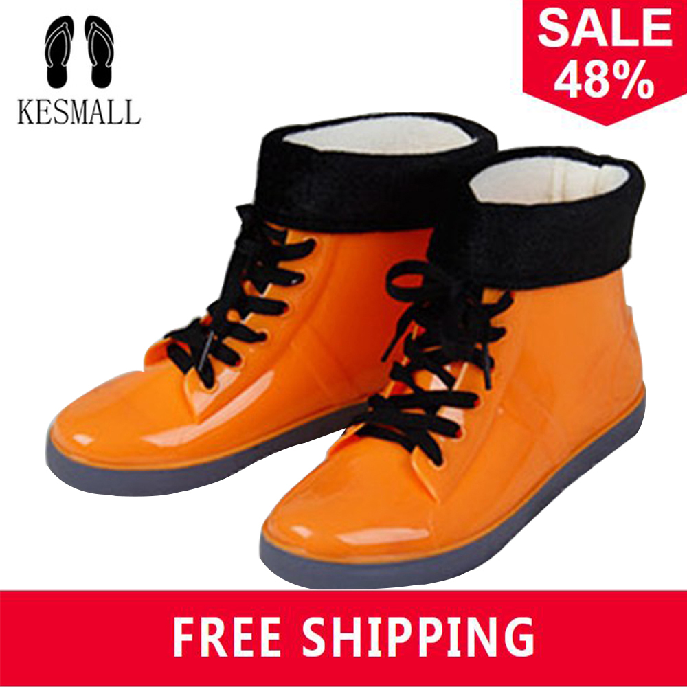 KESMALL Women Rain Boots Waterproof Rain Shoes Winter Cotton Snow Boots ladies Rubber Ankle Rain Boots Slip On Botas WS265 clouds without rain