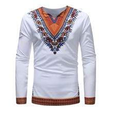 A new 2019 afrique printed mens casual long-sleeved base T-shirt