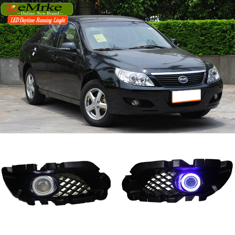 EEMRKE For BYD F6 2008-2011 LED Angel Eye DRL H11 55W Halogen Yellow Fog Lights Lamp Daytime Running Light Car Styling for opel astra h gtc 2005 15 h11 wiring harness sockets wire connector switch 2 fog lights drl front bumper 5d lens led lamp