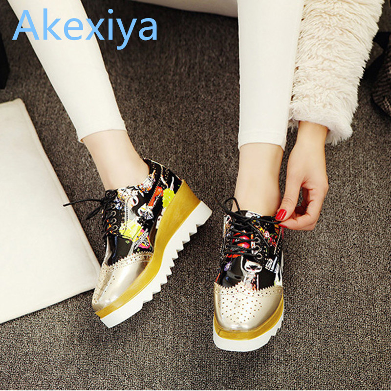 Akexiya 2017 New Women Shoes Muffin Heavy bottomed Creepers Platform Shoes Women Flats Lace Up Creepers