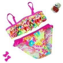 2 Pieces Set Swimsuit Girls Bikini Kids New Models Swimwear Quick Drying Polyester Floral Bubble Hem Bikini Top & Briefs Bottom