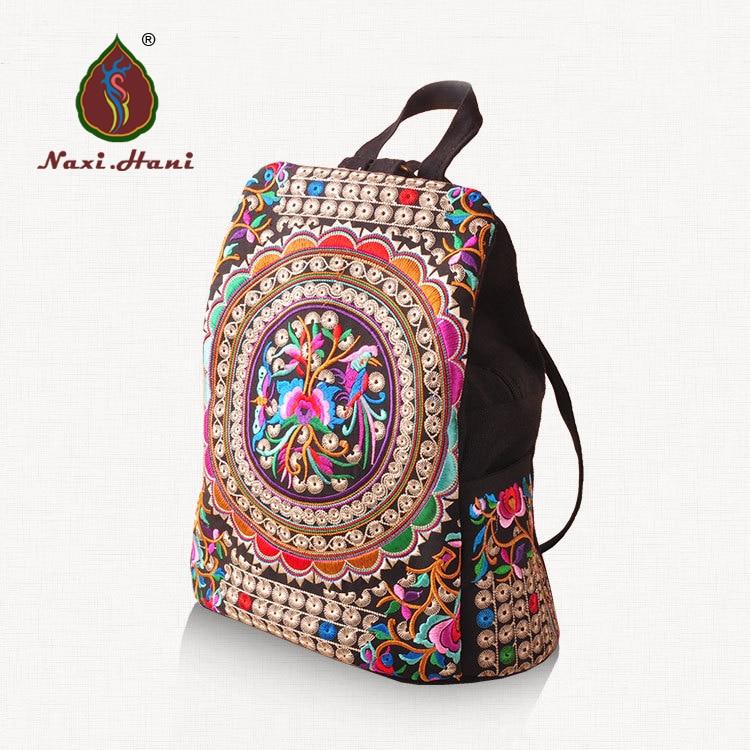 Marque ethnique broderie femmes sac à dos toile sac à dos Vintage mode voyage sac à dos