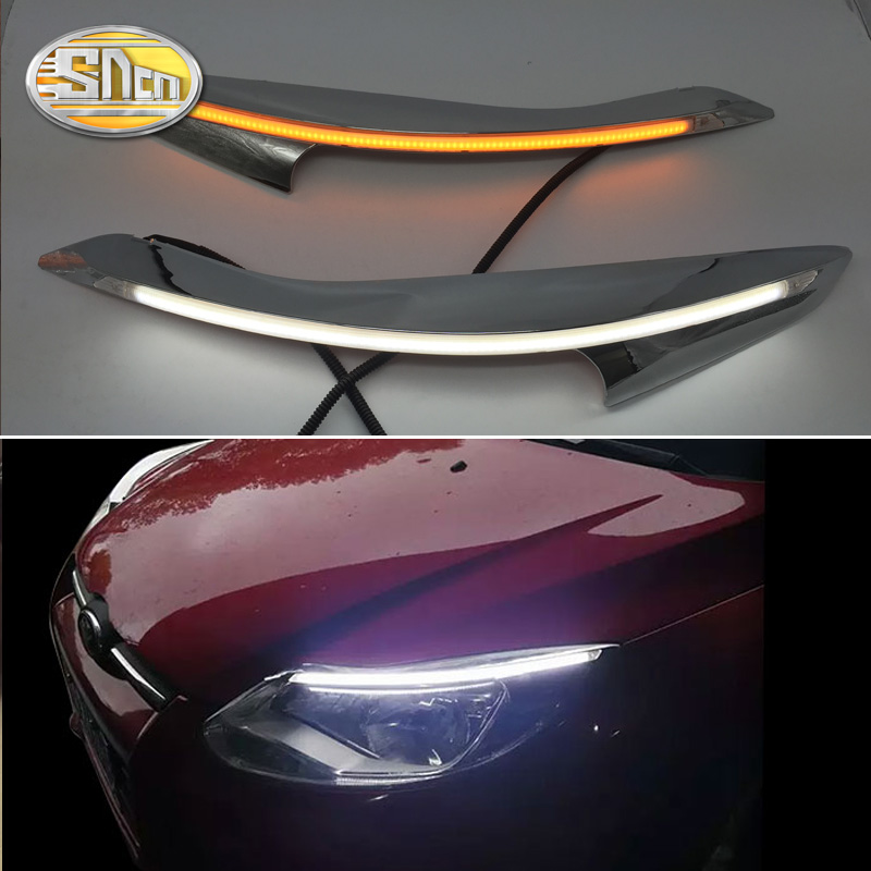 SNCN 2PCS LED Daytime Running Light Yellow Turn Signal Relay Car Headlight Eyebrow Decoration For Ford Focus 3 MK3 2012 2015