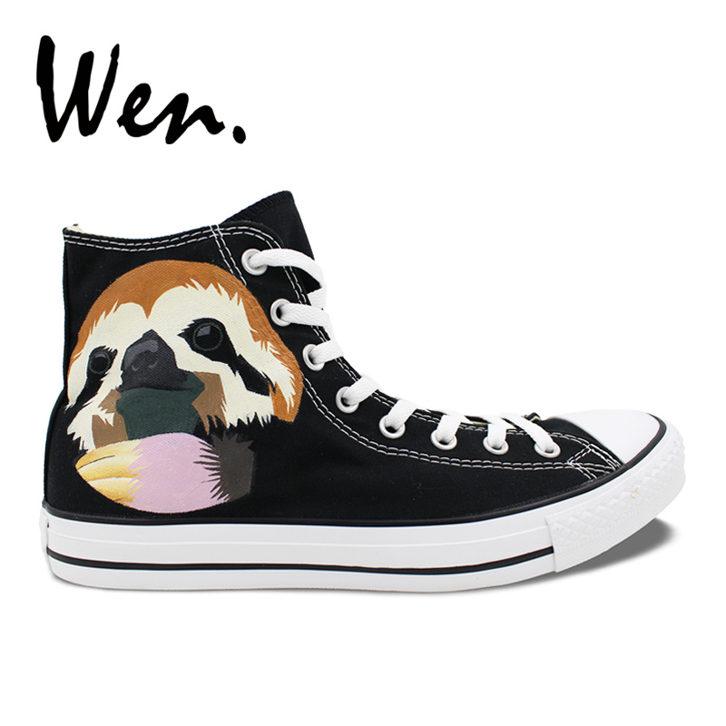 fb58d4a6179f Wen Hand Painted Shoes Animal Sloth Boys Girls Christmas Gifts High Top Men  Women s Canvas Sneakers