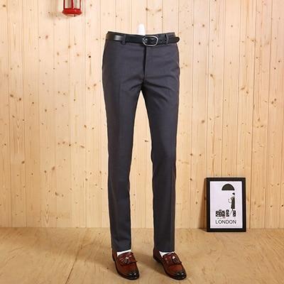 Высокое качество Новинка Весна Осень мужские тонкие Умные повседневные серые деловые свадебные костюмы Длинные брюки Модные темно-серые джентльменские брюки - Цвет: grey