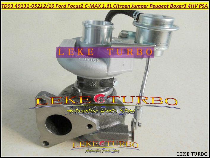 TD03 49131-05210 49131-05212 0375K7 6U3Q6K682AE Turbo Turbocharger For Ford Focus II C-MAX Fiesta VI 1.6L Citroen Jumper Peugeot Boxer III 4HV PSA 2.2L HDI- (2)