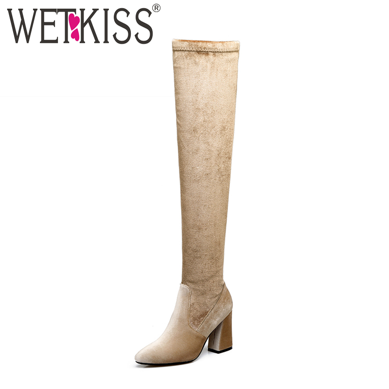 WETKISS Winter Thick High Heels Stretch Boots Flock Female Shoes Warm Hoof Heels Footwear Autumn Over The Knee Elastic Boot 2018 20cm high height sex boot pu platform hoof heels over the knee boot no wg11b