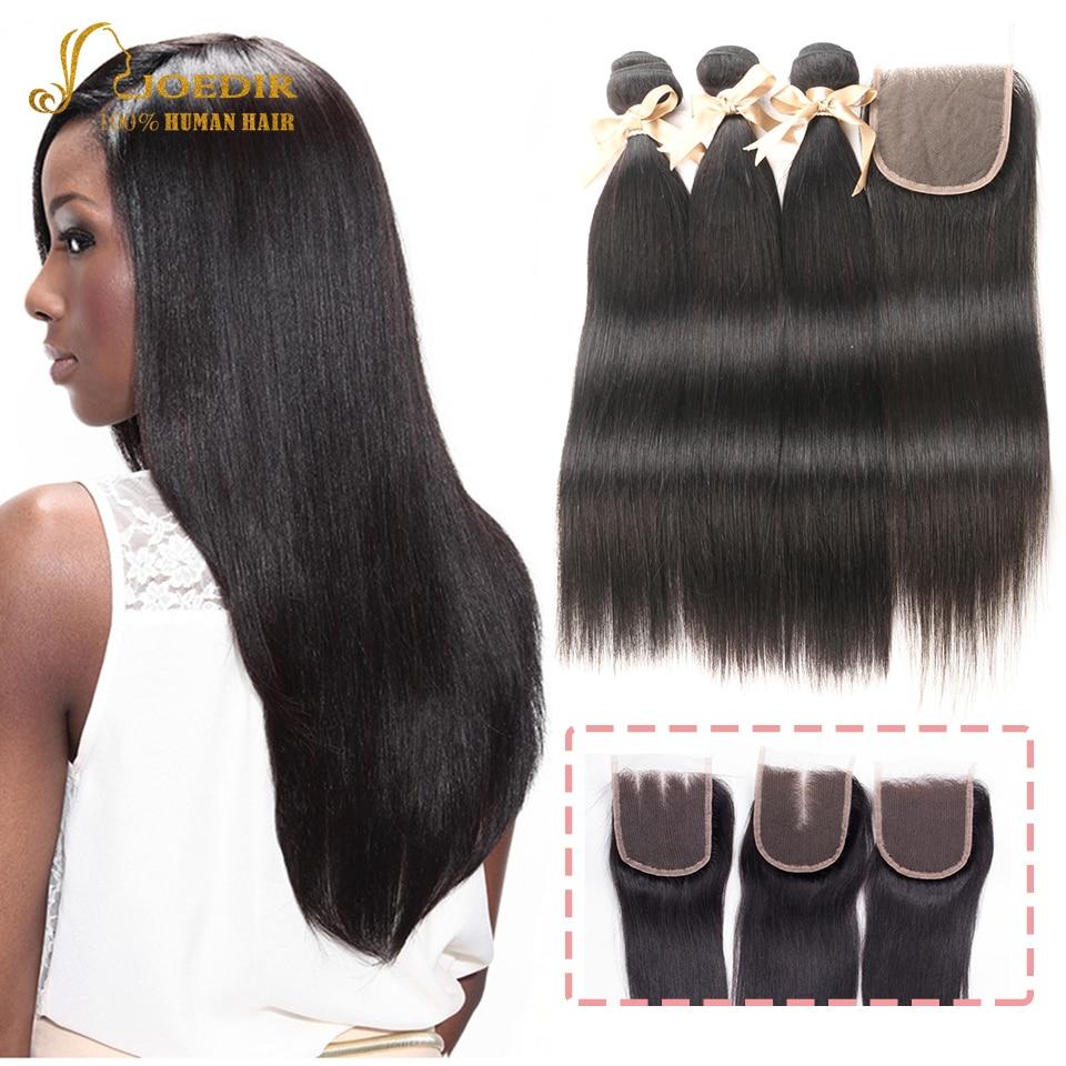 Joedir 3 4 PCS Cheap Malaysian Straight Hair Bundle With 4X4 Salon Closures Factory Direct Beauty Supply Human Hair Extensions