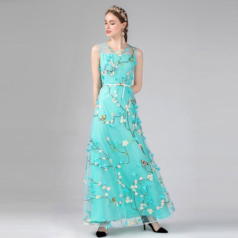 High Quality New Designer Women 39 s Dress Elegant Heavy Work Embroidery Flowers Round Neck Amazing Sleeveless Belt Female Dresses in Dresses from Women 39 s Clothing