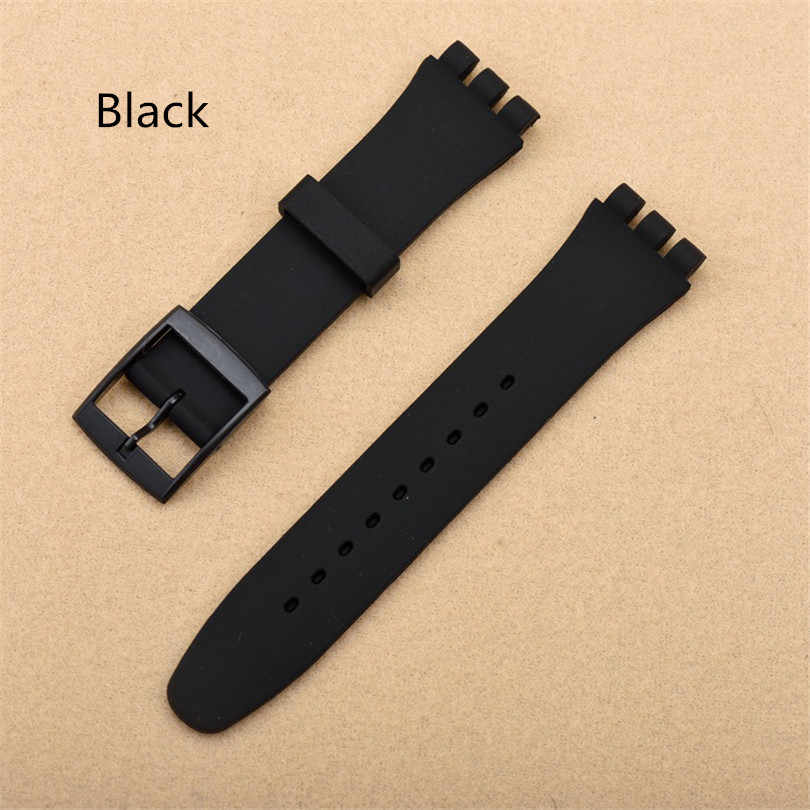 Black 17mm 19mm Silicone Rubber Watch Band Straps Men Women Watches Swatch Black White Navy Rubber Strap plastic buckle