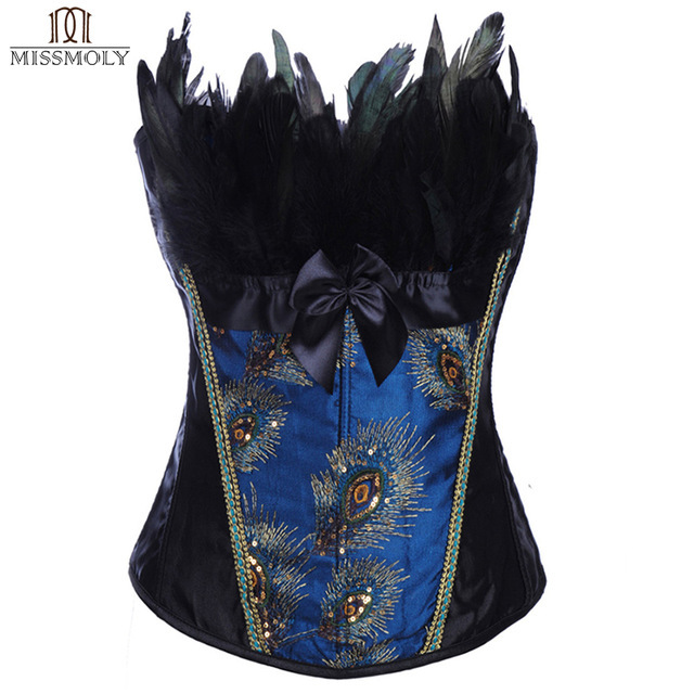 Women Sexy Corsets And Bustiers Feathers Waist Trainer Trainer Corset Lace Up Overbust Burlesque Body Shaper Corselet TYQ