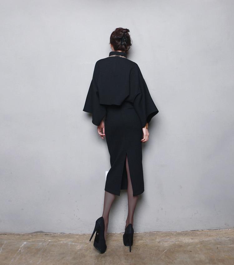 Femmes 2019 Chauve Laine 2 Roulé Plus Hiver Fente Taille Midi Col bourgogne Manches Style Séparée Robe Coréen Pièces Noir De Robes gris souris FKl1cJT3