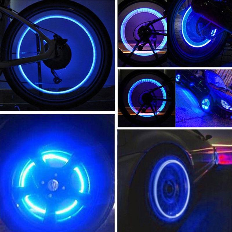 4pcs Novelty Night Light Colorful Firefly Spoke LED Road Bike Motorcycle Wheel Valve Stem Cap Tire Motion Neon Light Accessories