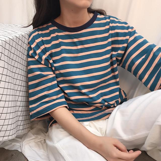 c38c779bb52 Women T shirt Harajuku Kawaii Loose Striped Tops Tee Female Fashion Ulzzang Summer  T-shirt