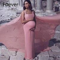 Простой розовый вечерние платья для беременных с длинным мысом элегантный ремень шифон беременность платье для выпускного вечера официаль