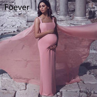 Simple Pink Maternity Evening Dresses with Long Cape Elegant Strap Chiffon Pregnancy Prom Dress Formal Party Gowns
