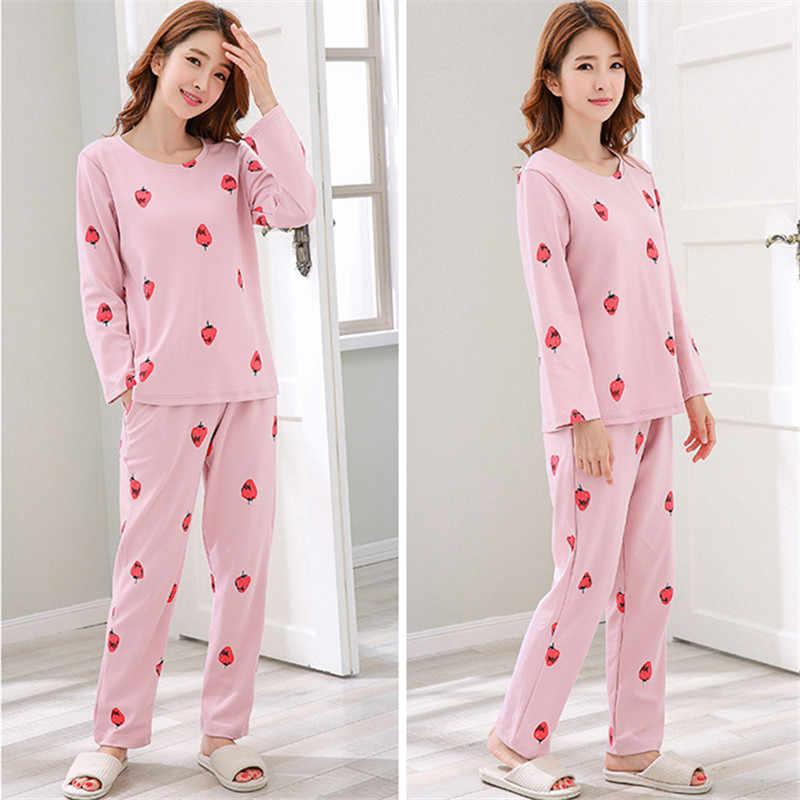 b4966efafb ... Pajamas Women Set Long sleeve Night suit Ladies autumn 2018 Korean Plus  size Cotton Pink Home ...