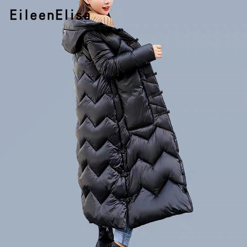 c74db3277d2 Eileen Elisa Military Parka Outerwear Long Coats Button 2018 New Winter  Women Jacket Thick Warm Hooded Slim Down Plus M-2XL