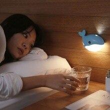 Small blue whale led body sensor light, dolphin usb charging cabinet light bedside lamp
