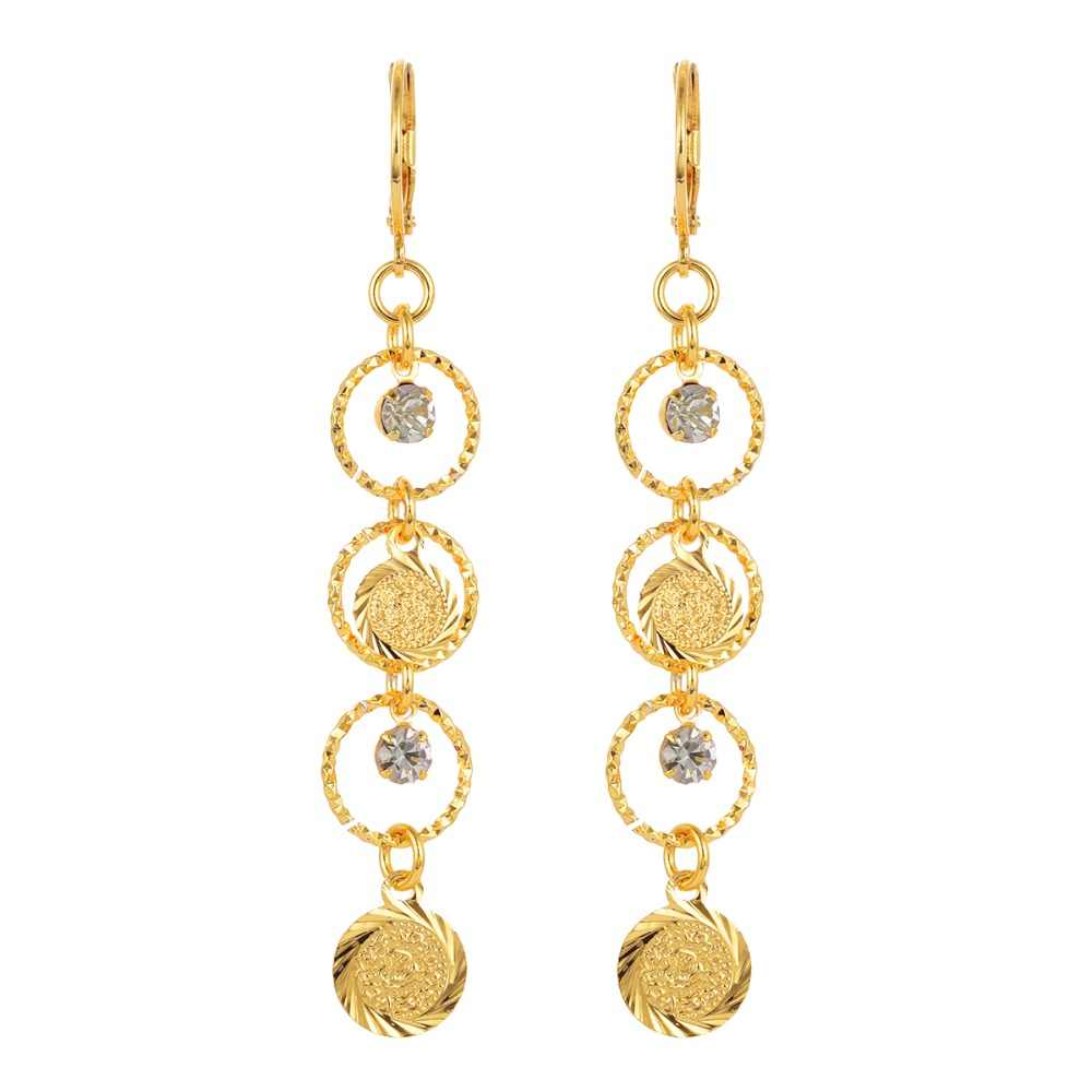 Women Islamic Arabic Ancient Coins Gold-color Long Dangle Drop Earrings Jewelry