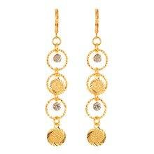 נשים סדרת מטבעות עתיקים זהב צבע ארוך להתנדנד טיפת עגילי תכשיטים