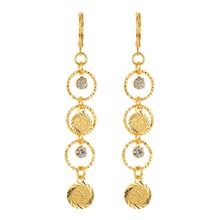 Women Islamic Arabic Ancient Coins Gold color Long Dangle Drop Earrings Jewelry