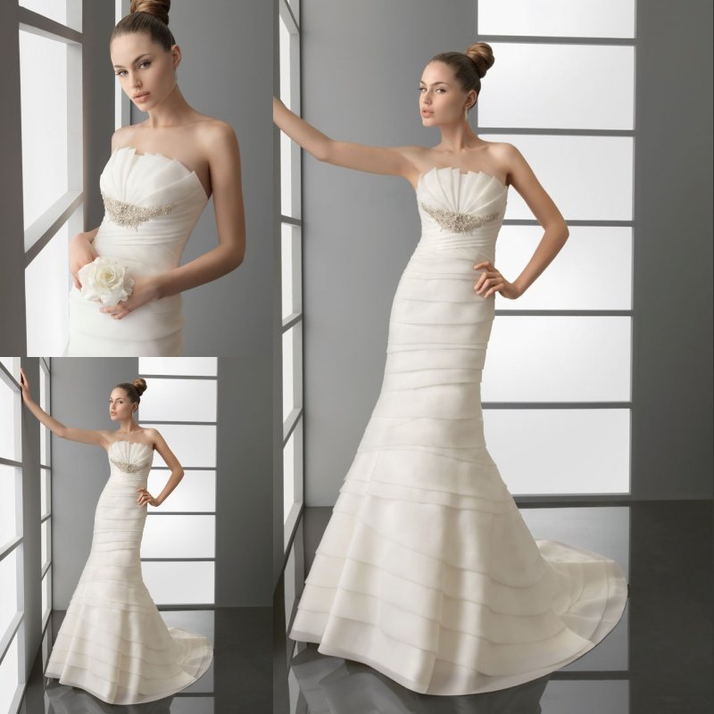 Charm Fashion 2015 Fabulous Strapless Tiered Beaded Empire