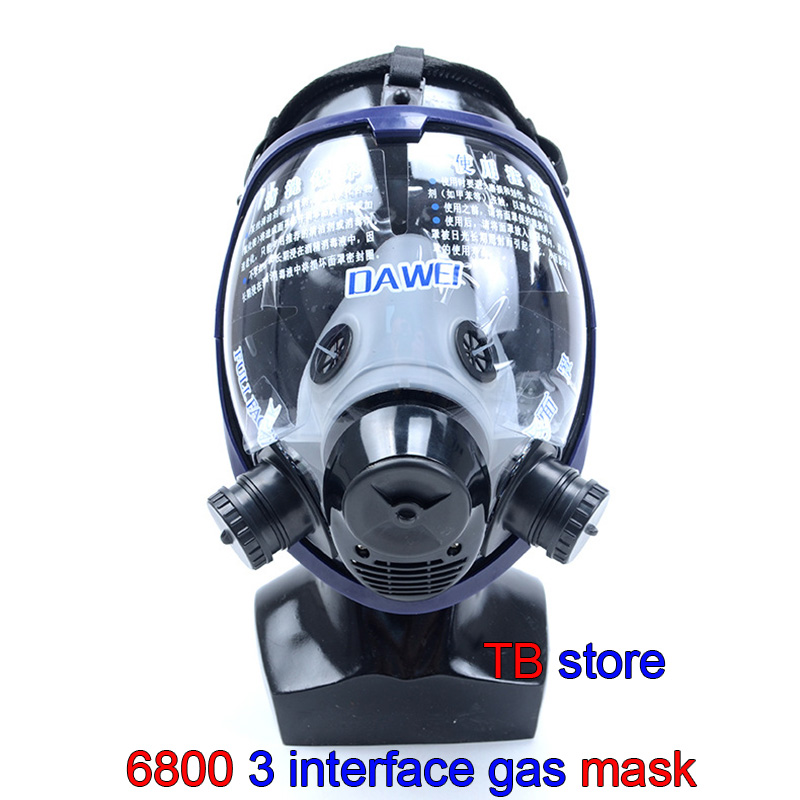 6800 Respirator Gas Mask 3 Interface Spherical Super Clear Full Face Gas Mask Universal 3M / SJL Filter Spraying Protective Mask