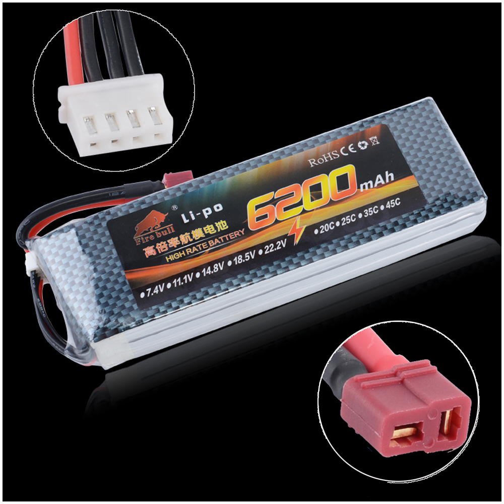 1pcs Li-Polymer Lipo Battery 11.1V 6200mah 30C XT60 Plug For RC Airplane Helicopter Quadcopter Drone Parts mos rc airplane lipo battery 3s 11 1v 5200mah 40c for quadrotor rc boat rc car