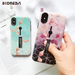 EKONEDA Hidden Holder For iPhone 7 Plus Case iPhone X Case Ring Relief Ingradient Geometric For iPhone XS Max XR 6S 8 Plus Case 1