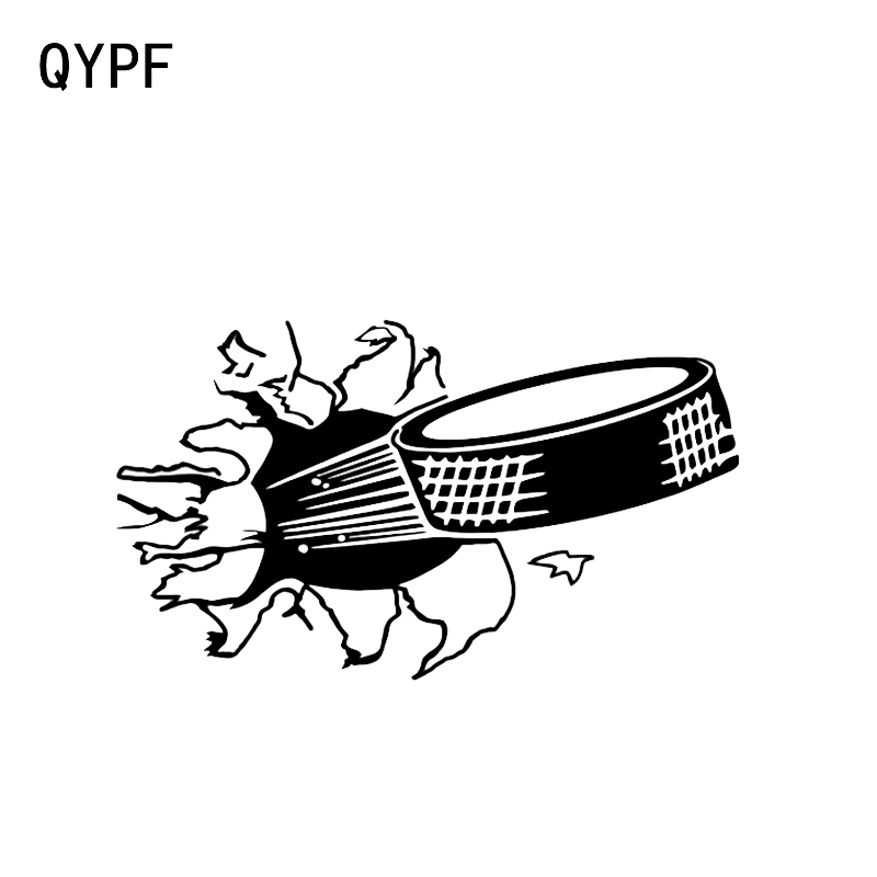 QYPF 14.1*8.1CM Interesting Hockey Puck Decor Vinyl Car Styling Stickers Silhouette Accessories Motorcycle C16-0541