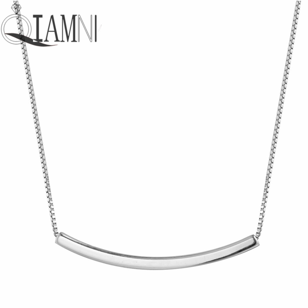 QIAMNI 925 Sterling Silver Dainty Curved Tube Bar Minimalist Pendant Choker Necklace Women Girl Accessories Chain Christmas Gift