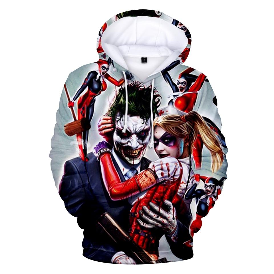 Joker 3D Print Sweatshirt Hoodies Men and women Hip Hop Funny Autumn Street wear Hoodies Sweatshirt For Couples Clothes 3