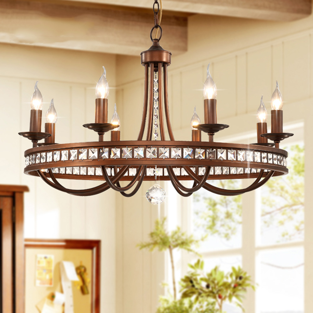 LED Vintage Home Lighting Crystal Chandelier 110-220v  Wrought Iron Rectangle  Chandelier E14 Chandeliers for The Bedroom